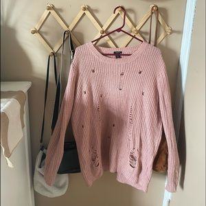Pink Distressed Sweater
